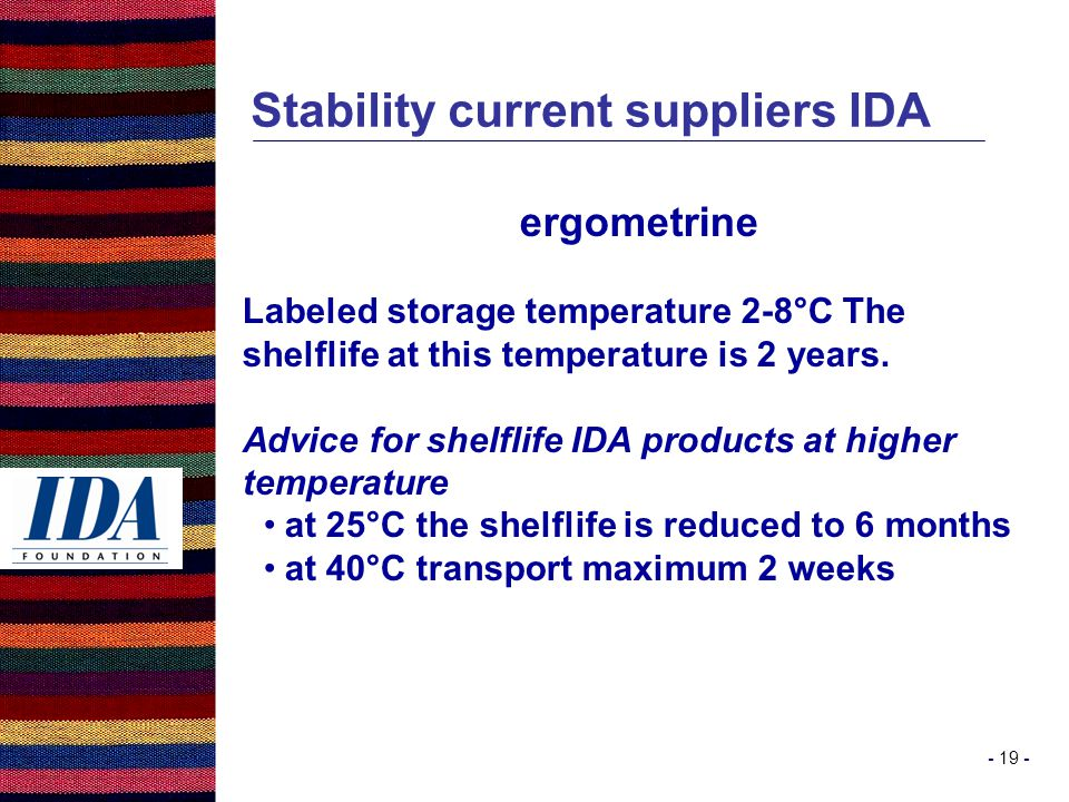 - 19 - Stability current suppliers IDA ergometrine Labeled storage temperature 2-8°C The shelflife at this temperature is 2 years.
