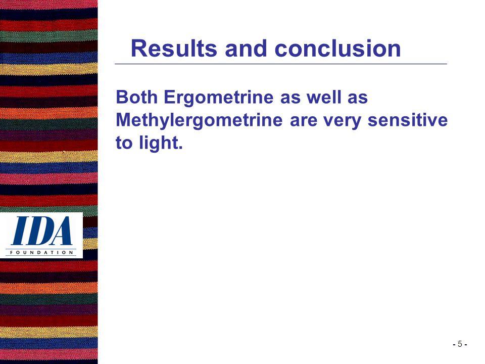 - 5 - Results and conclusion Both Ergometrine as well as Methylergometrine are very sensitive to light.