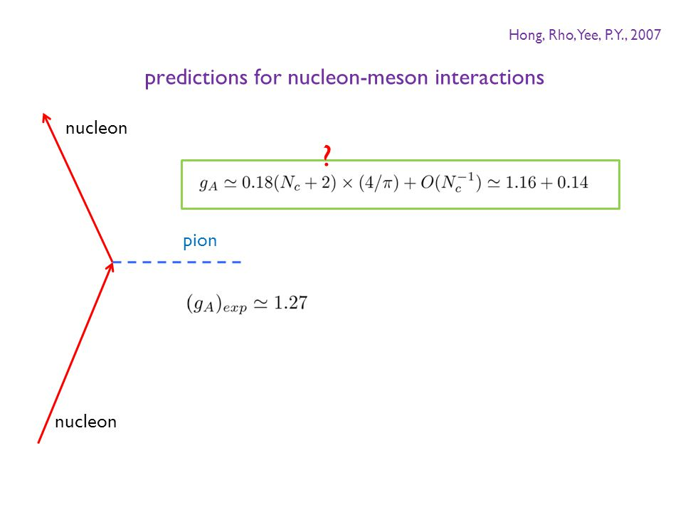 nucleon pion nucleon ? predictions for nucleon-meson interactions Hong, Rho, Yee, P.Y., 2007