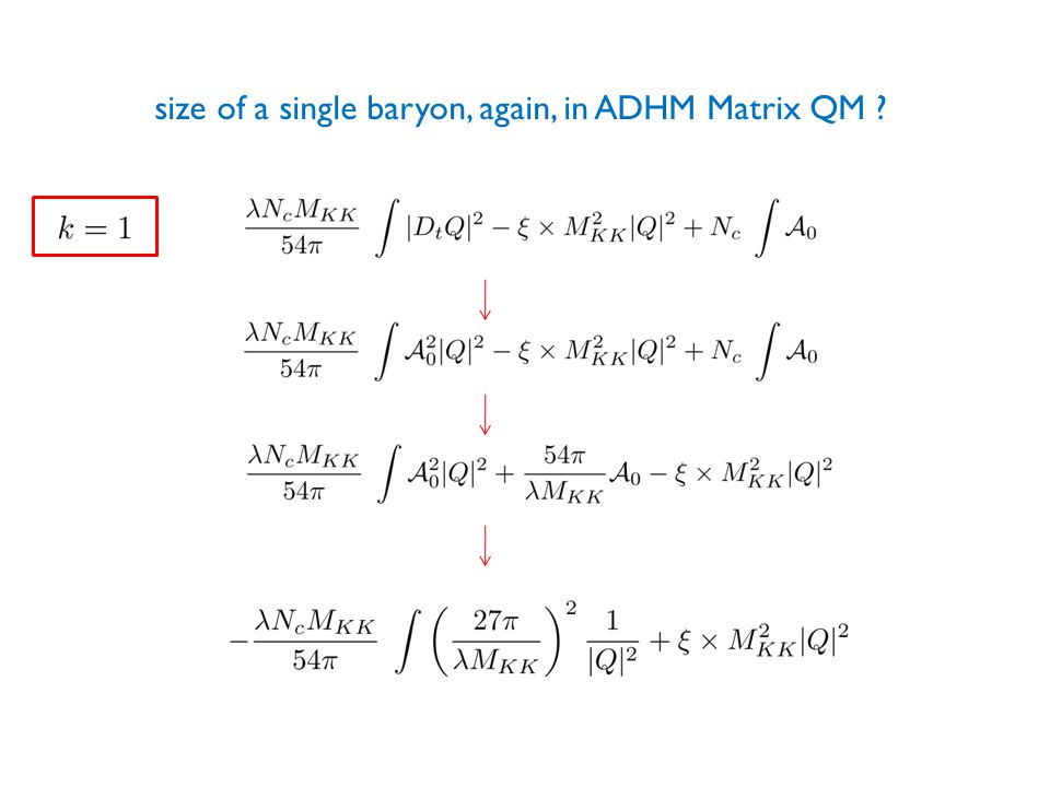 size of a single baryon, again, in ADHM Matrix QM ?