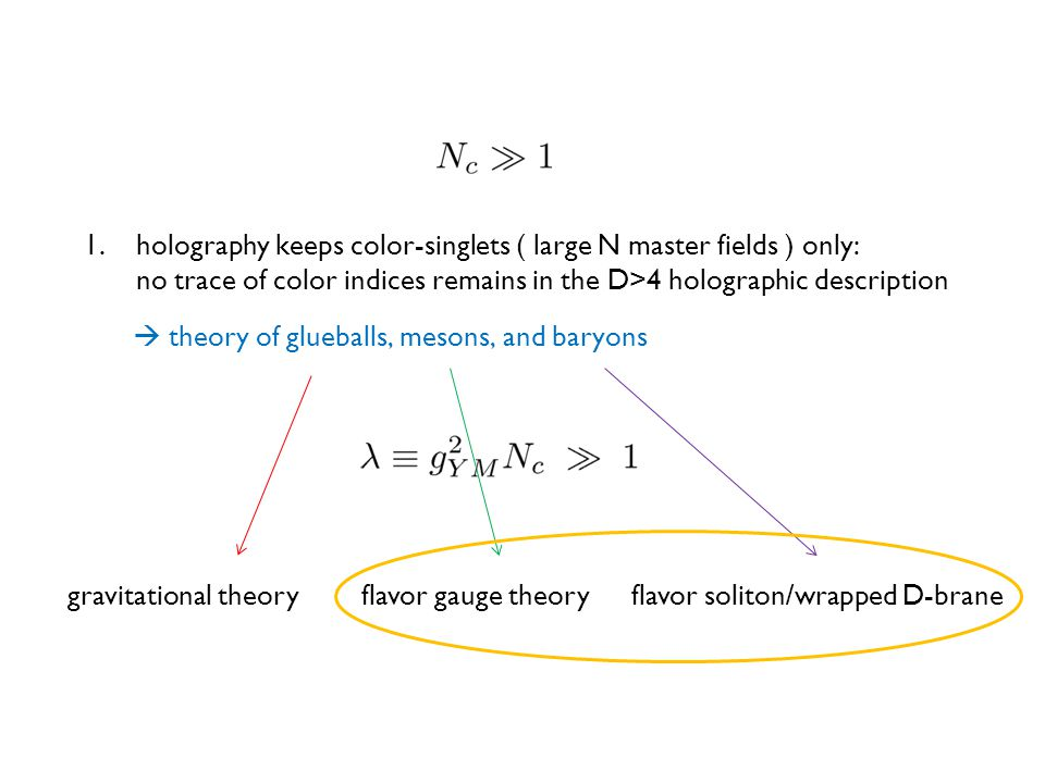 1.holography keeps color-singlets ( large N master fields ) only: no trace of color indices remains in the D>4 holographic description  theory of glueballs, mesons, and baryons gravitational theoryflavor gauge theoryflavor soliton/wrapped D-brane
