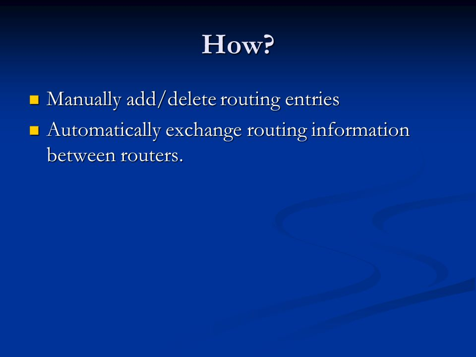 How can the routers know the routing information