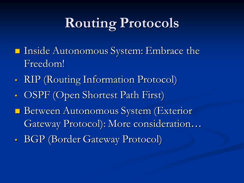 Routing Protocols Autonomous System Autonomous System