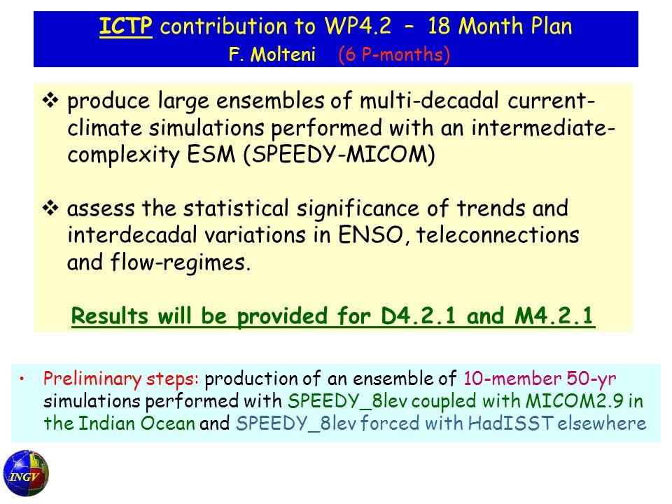 INGV ICTP contribution to WP4.2 – 18 Month Plan F.
