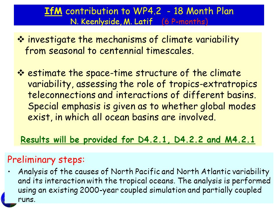 IfM contribution to WP4.2 - 18 Month Plan N. Keenlyside, M.