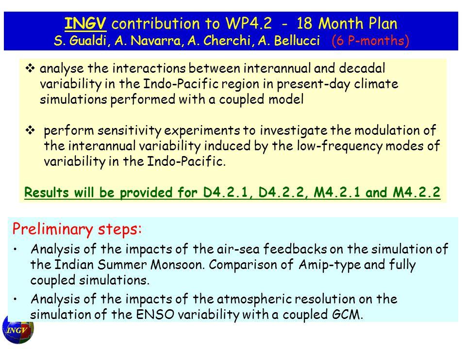 INGV INGV contribution to WP4.2 - 18 Month Plan S.