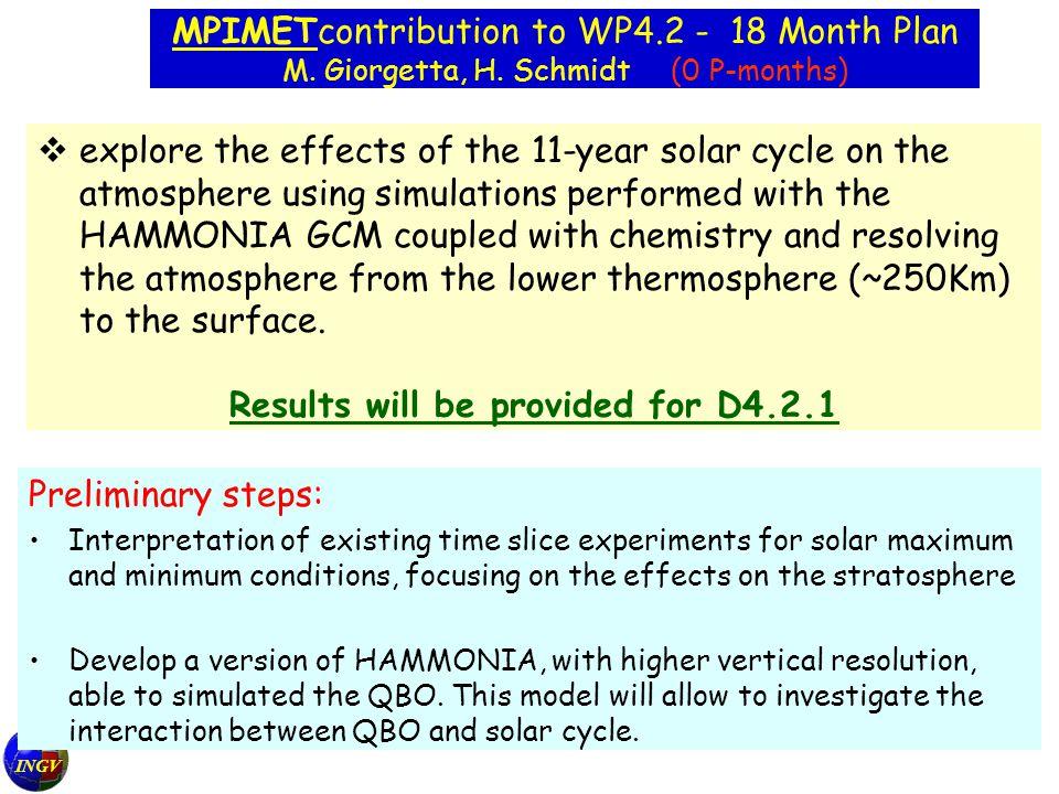 INGV MPIMETcontribution to WP4.2 - 18 Month Plan M.