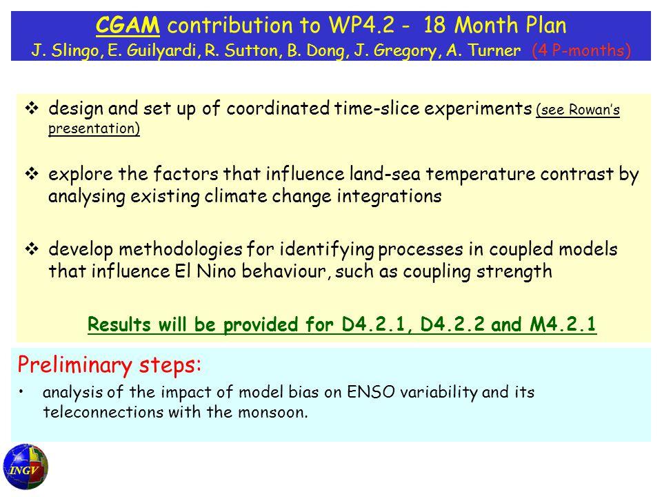 INGV CGAM contribution to WP4.2 - 18 Month Plan J.