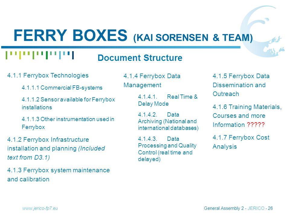 General Assembly 2 - JERICO - 26www.jerico-fp7.eu FERRY BOXES (KAI SORENSEN & TEAM) Document Structure 4.1.4 Ferrybox Data Management 4.1.4.1.Real Time & Delay Mode 4.1.4.2.Data Archiving (National and international databases) 4.1.4.3.Data Processing and Quality Control (real time and delayed) 4.1.5 Ferrybox Data Dissemination and Outreach 4.1.6 Training Materials, Courses and more Information .
