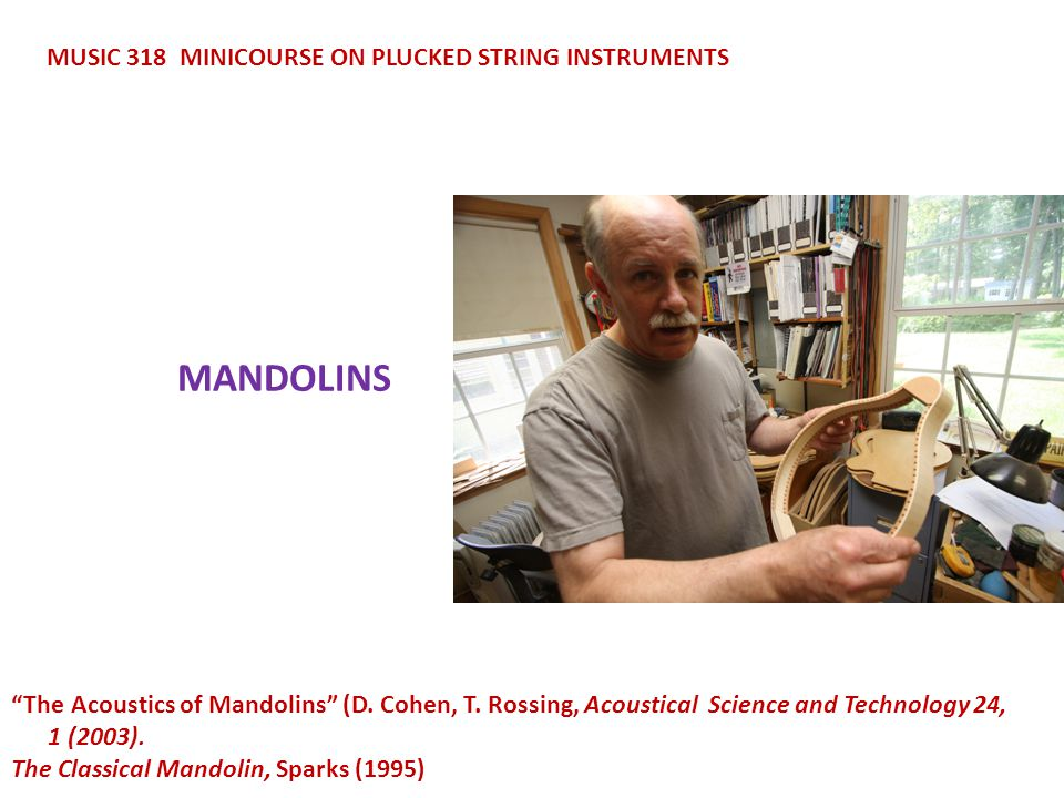 MANDOLINS MUSIC 318 MINICOURSE ON PLUCKED STRING INSTRUMENTS The Acoustics of Mandolins (D.