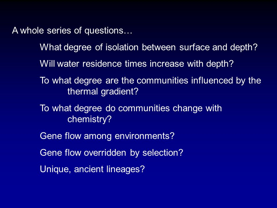 A whole series of questions… What degree of isolation between surface and depth.