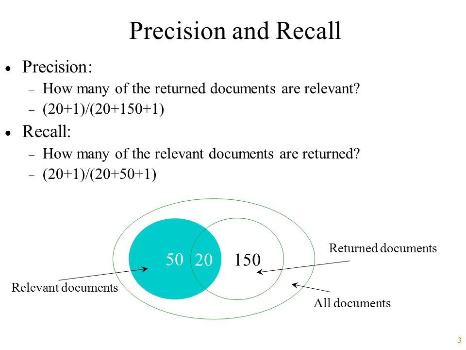 3 Precision and Recall  Precision:  How many of the returned documents are relevant?  (20+1)/(20+150+1)  Recall:  How many of the relevant docume