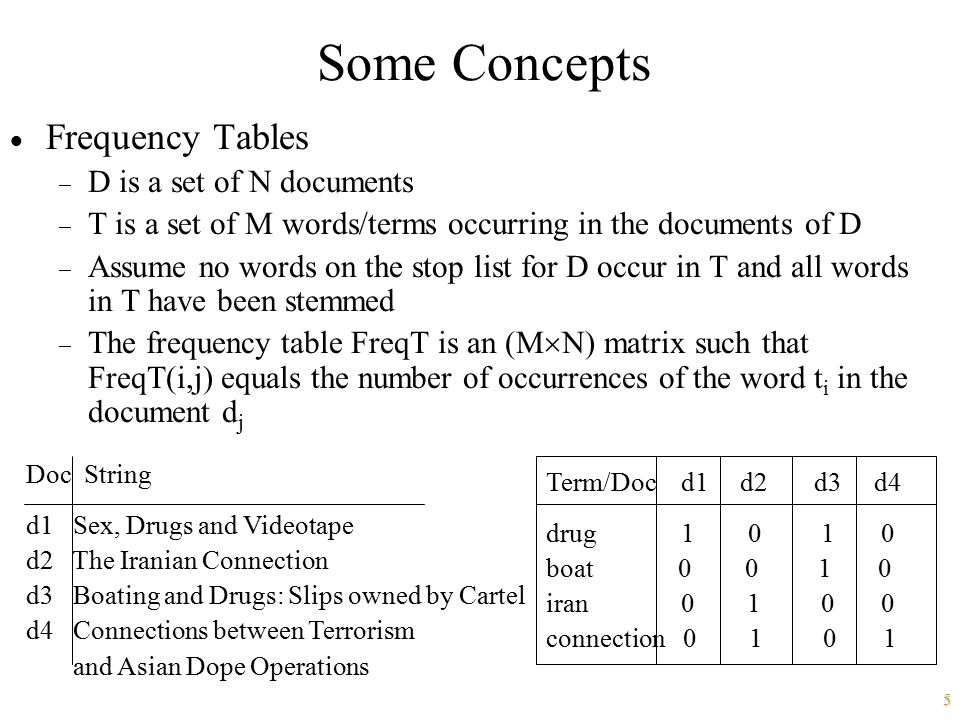 5 Some Concepts  Frequency Tables  D is a set of N documents  T is a set of M words/terms occurring in the documents of D  Assume no words on the