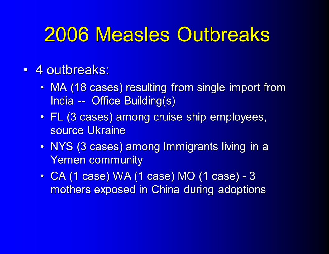 2006 Measles Outbreaks 4 outbreaks:4 outbreaks: MA (18 cases) resulting from single import from India -- Office Building(s)MA (18 cases) resulting fro