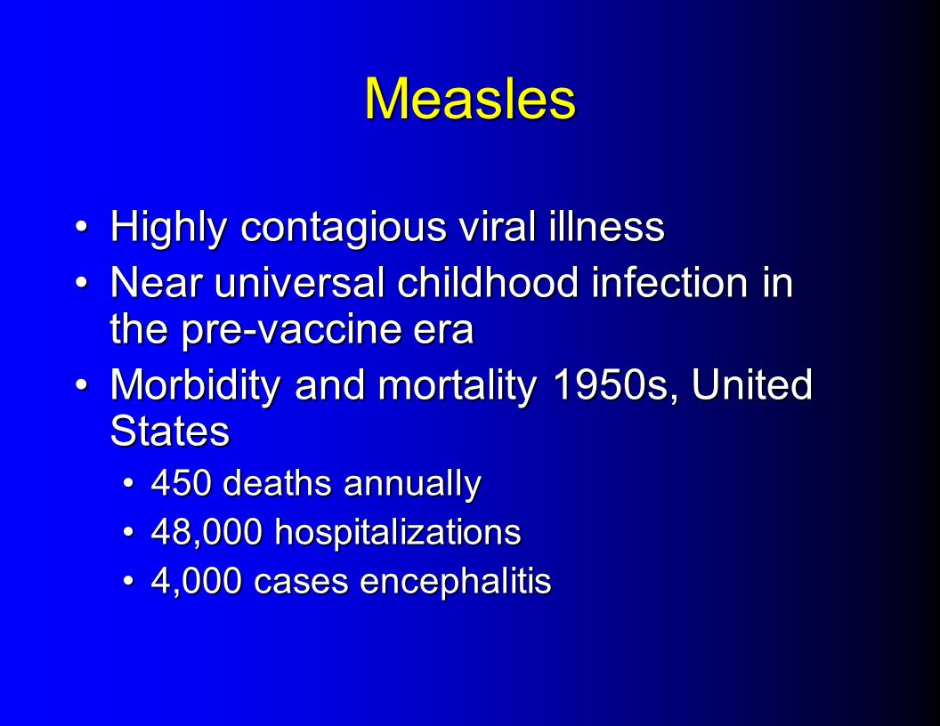Measles Highly contagious viral illnessHighly contagious viral illness Near universal childhood infection in the pre-vaccine eraNear universal childhood infection in the pre-vaccine era Morbidity and mortality 1950s, United StatesMorbidity and mortality 1950s, United States 450 deaths annually450 deaths annually 48,000 hospitalizations48,000 hospitalizations 4,000 cases encephalitis4,000 cases encephalitis