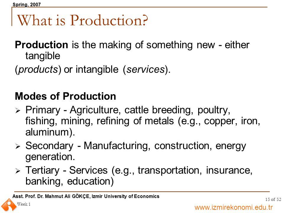 www.izmirekonomi.edu.tr Asst. Prof. Dr. Mahmut Ali GÖKÇE, Izmir University of Economics Spring, 2007 Week 1 15 of 52 What is Production? Production is