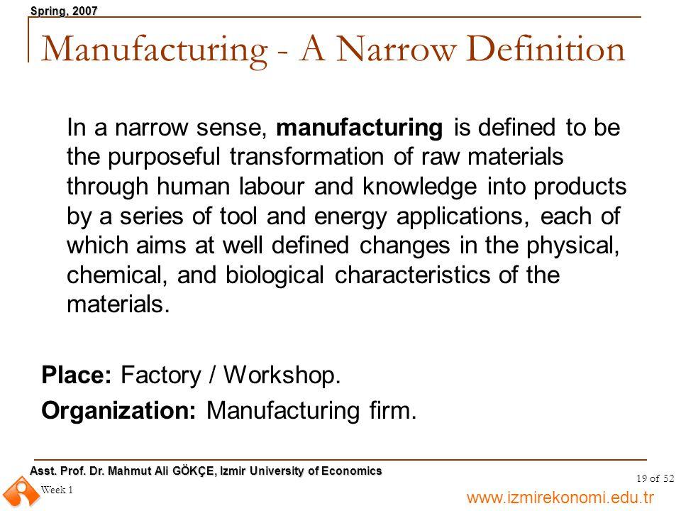 www.izmirekonomi.edu.tr Asst. Prof. Dr. Mahmut Ali GÖKÇE, Izmir University of Economics Spring, 2007 Week 1 19 of 52 Manufacturing - A Narrow Definiti