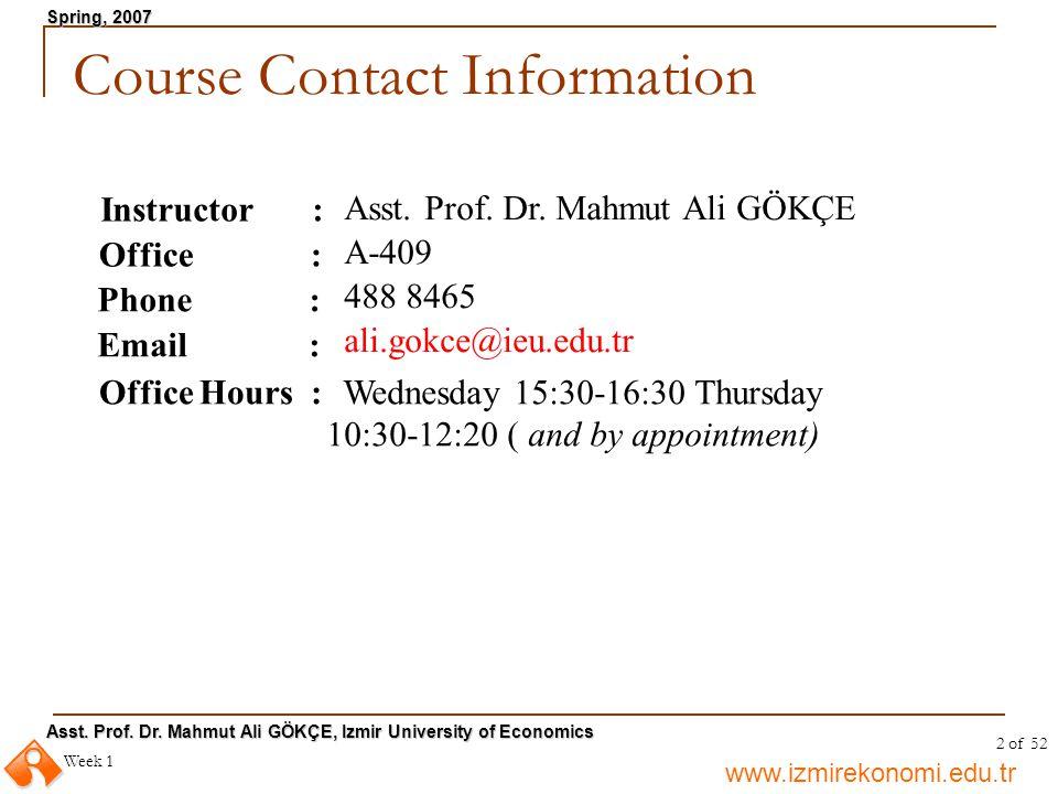 www.izmirekonomi.edu.tr Asst. Prof. Dr. Mahmut Ali GÖKÇE, Izmir University of Economics Spring, 2007 Week 1 2 of 52 Course Contact Information Instruc