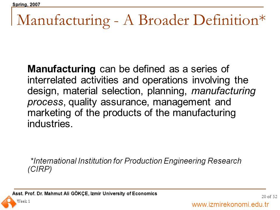 www.izmirekonomi.edu.tr Asst. Prof. Dr. Mahmut Ali GÖKÇE, Izmir University of Economics Spring, 2007 Week 1 20 of 52 Manufacturing - A Broader Definit