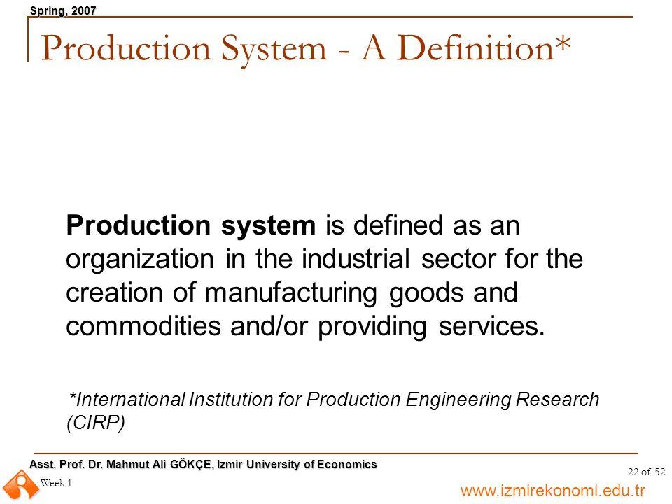 www.izmirekonomi.edu.tr Asst. Prof. Dr. Mahmut Ali GÖKÇE, Izmir University of Economics Spring, 2007 Week 1 22 of 52 Production System - A Definition*