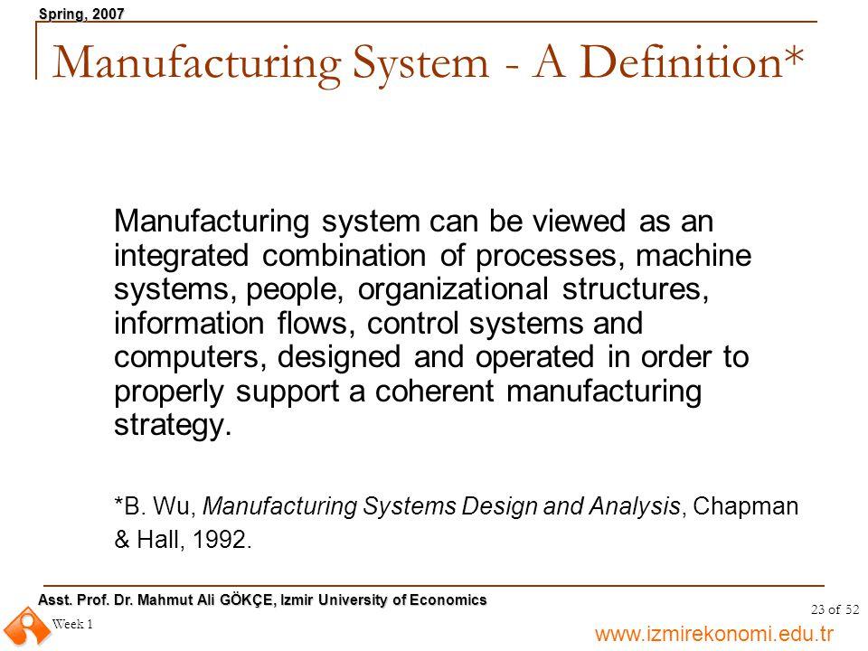www.izmirekonomi.edu.tr Asst. Prof. Dr. Mahmut Ali GÖKÇE, Izmir University of Economics Spring, 2007 Week 1 23 of 52 Manufacturing System - A Definiti