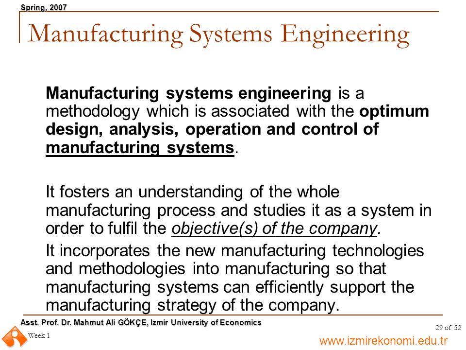 www.izmirekonomi.edu.tr Asst. Prof. Dr. Mahmut Ali GÖKÇE, Izmir University of Economics Spring, 2007 Week 1 29 of 52 Manufacturing Systems Engineering