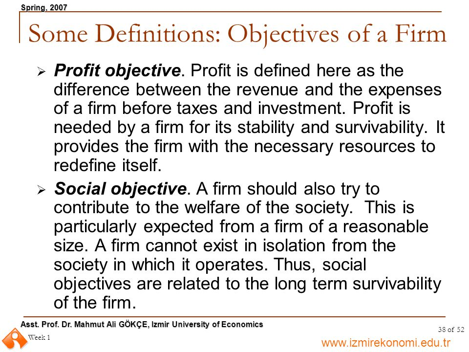 www.izmirekonomi.edu.tr Asst. Prof. Dr. Mahmut Ali GÖKÇE, Izmir University of Economics Spring, 2007 Week 1 38 of 52 Some Definitions: Objectives of a