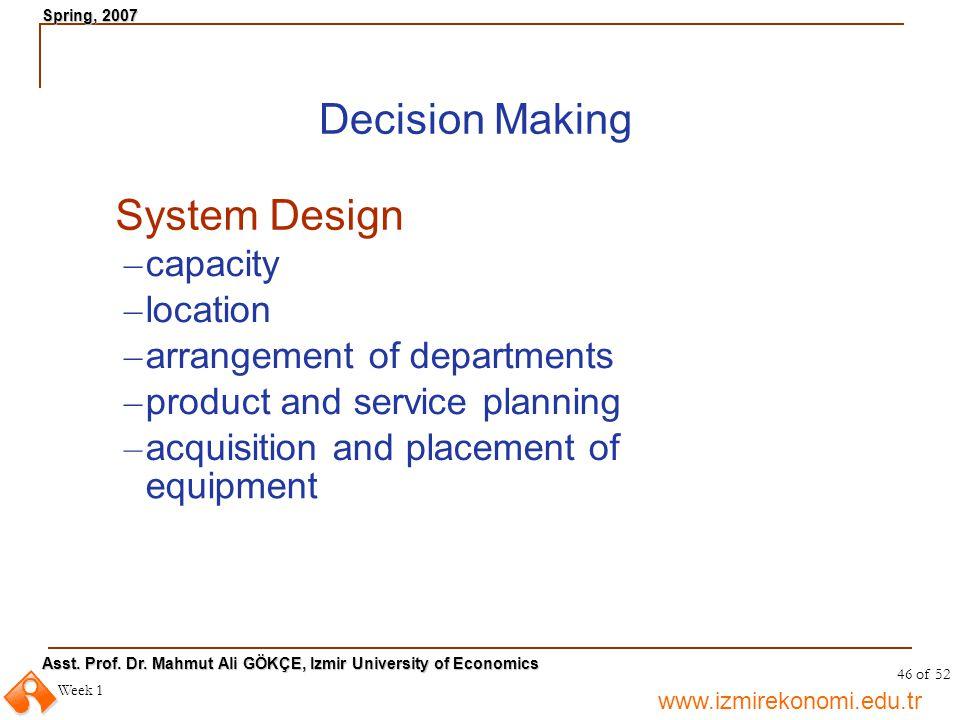 www.izmirekonomi.edu.tr Asst. Prof. Dr. Mahmut Ali GÖKÇE, Izmir University of Economics Spring, 2007 Week 1 46 of 52 Decision Making System Design – c