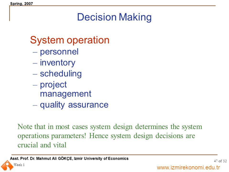 www.izmirekonomi.edu.tr Asst. Prof. Dr. Mahmut Ali GÖKÇE, Izmir University of Economics Spring, 2007 Week 1 47 of 52 Decision Making System operation