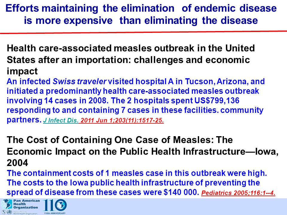 Efforts maintaining the elimination of endemic disease is more expensive than eliminating the disease Health care-associated measles outbreak in the U