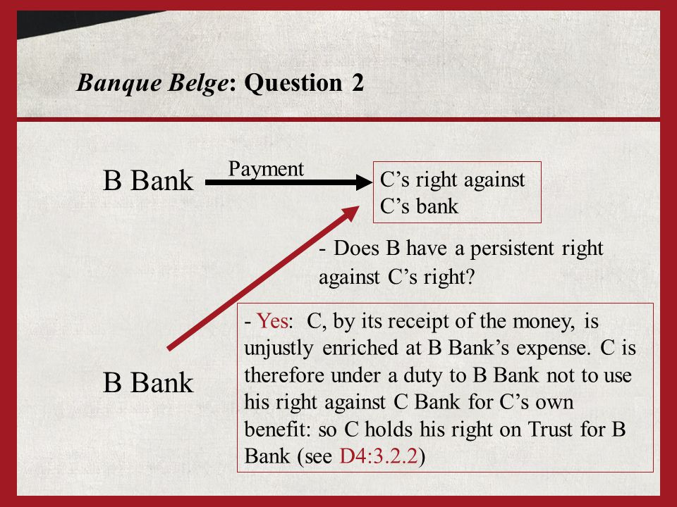 Banque Belge: Question 2 B Bank C's right against C's bank Payment - Does B have a persistent right against C's right? - Yes: C, by its receipt of the