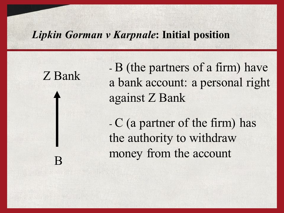 Lipkin Gorman v Karpnale: Initial position Z Bank B - B (the partners of a firm) have a bank account: a personal right against Z Bank - C (a partner o