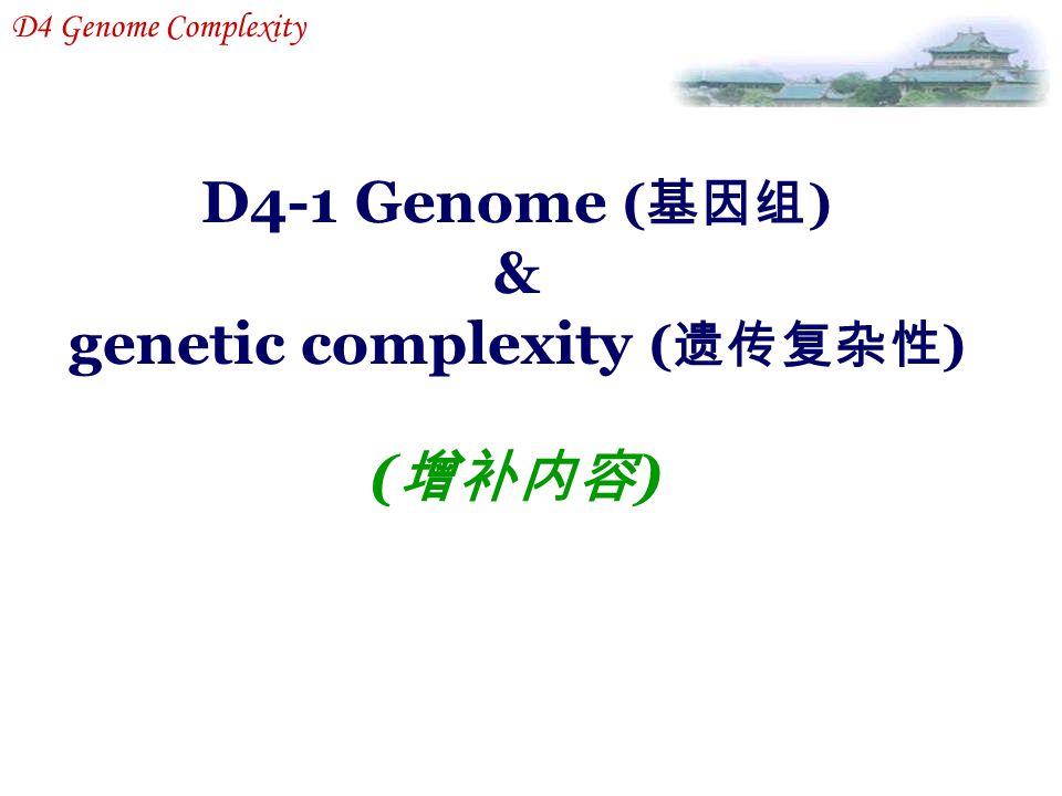 D4-1 Genome ( 基因组 ) & genetic complexity ( 遗传复杂性 ) ( 增补内容 ) D4 Genome Complexity