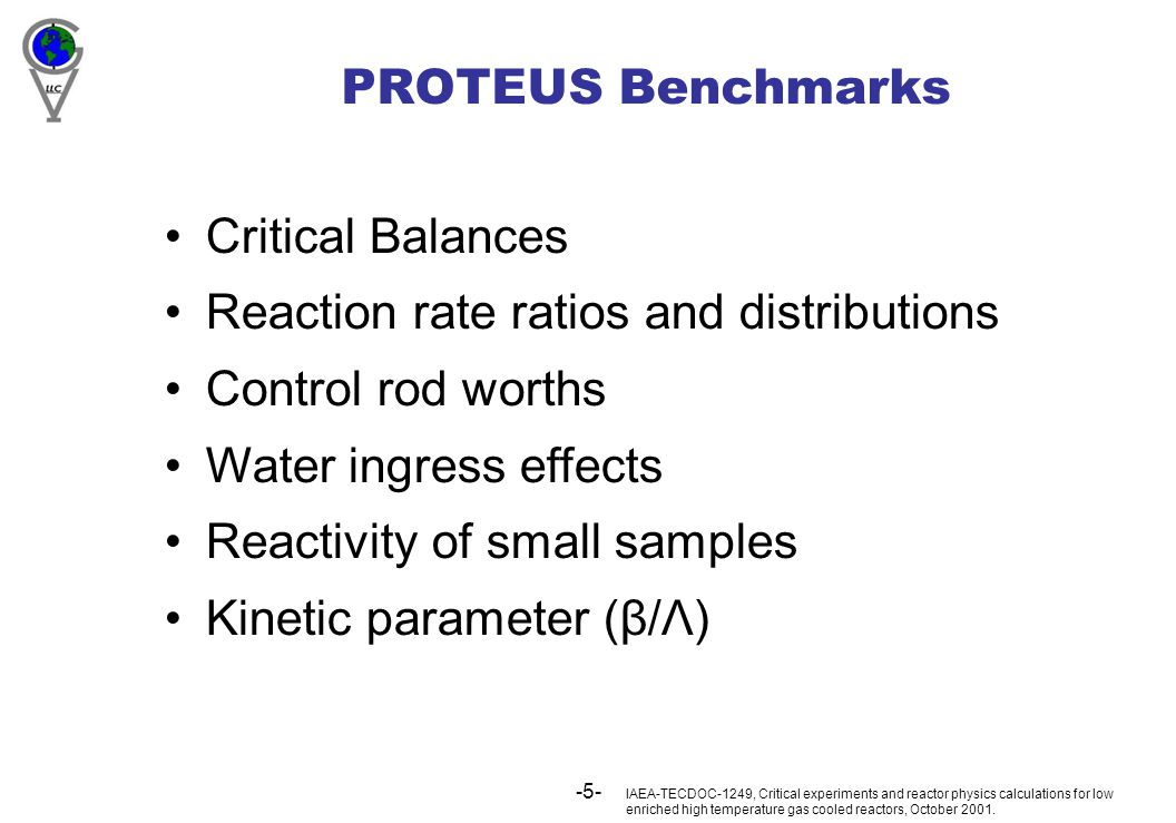 -5- PROTEUS Benchmarks Critical Balances Reaction rate ratios and distributions Control rod worths Water ingress effects Reactivity of small samples Kinetic parameter (β/Λ) IAEA-TECDOC-1249, Critical experiments and reactor physics calculations for low enriched high temperature gas cooled reactors, October 2001.