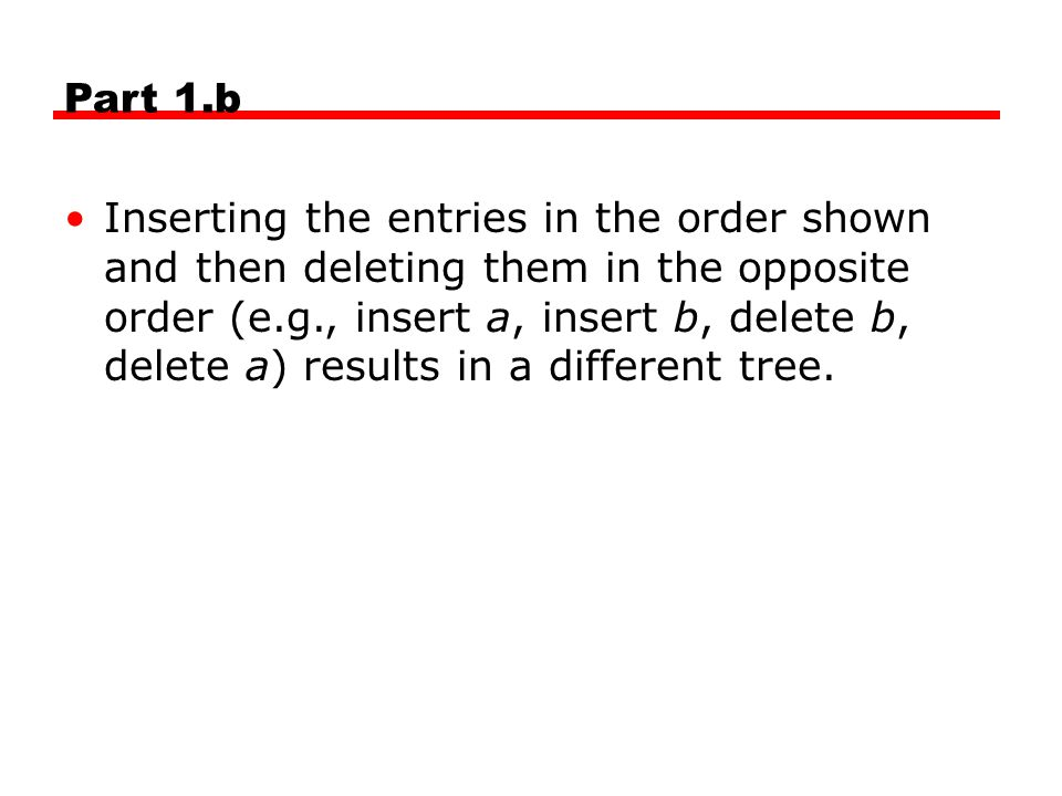 Part 1.b Inserting the entries in the order shown and then deleting them in the opposite order (e.g., insert a, insert b, delete b, delete a) results