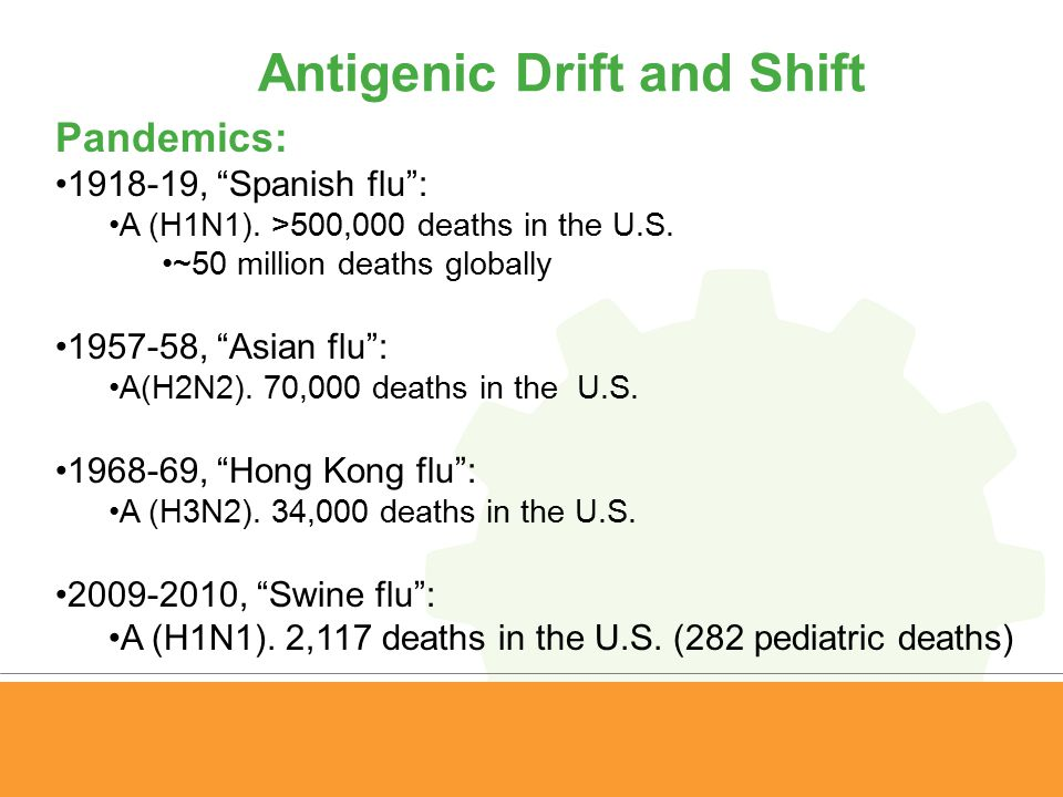 "Antigenic Drift and Shift Pandemics: 1918-19, ""Spanish flu"": A (H1N1). >500,000 deaths in the U.S. ~50 million deaths globally 1957-58, ""Asian flu"": A"