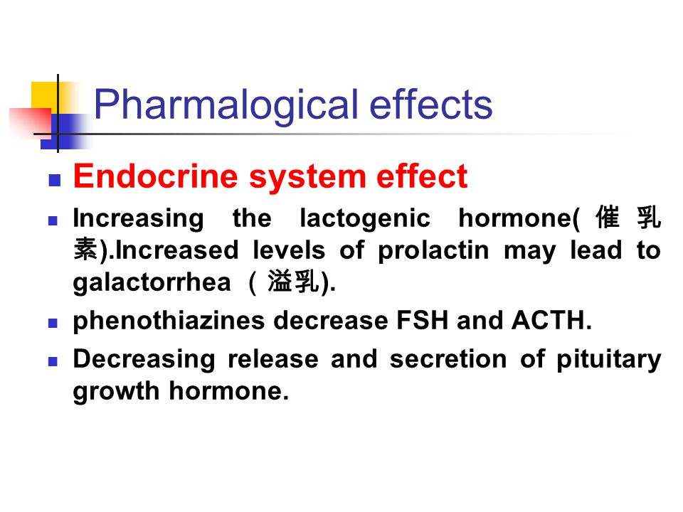 Pharmalogical effects Endocrine system effect Increasing the lactogenic hormone( 催乳 素 ).Increased levels of prolactin may lead to galactorrhea (溢乳 ).