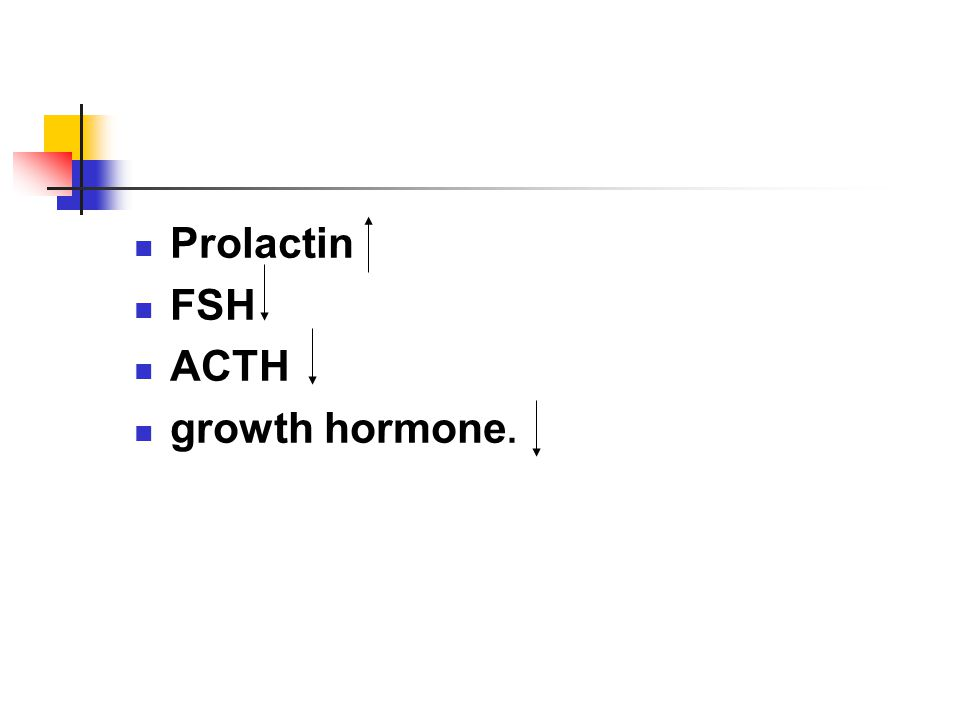 Prolactin FSH ACTH growth hormone.