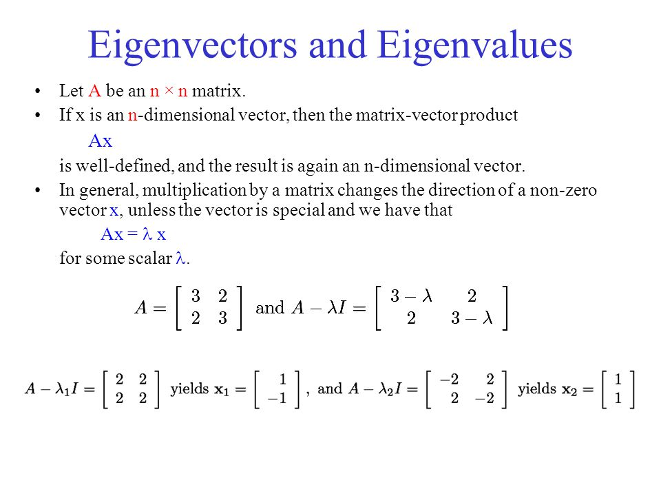 Eigenvectors and Eigenvalues Let A be an n × n matrix. If x is an n-dimensional vector, then the matrix-vector product Ax is well-defined, and the res