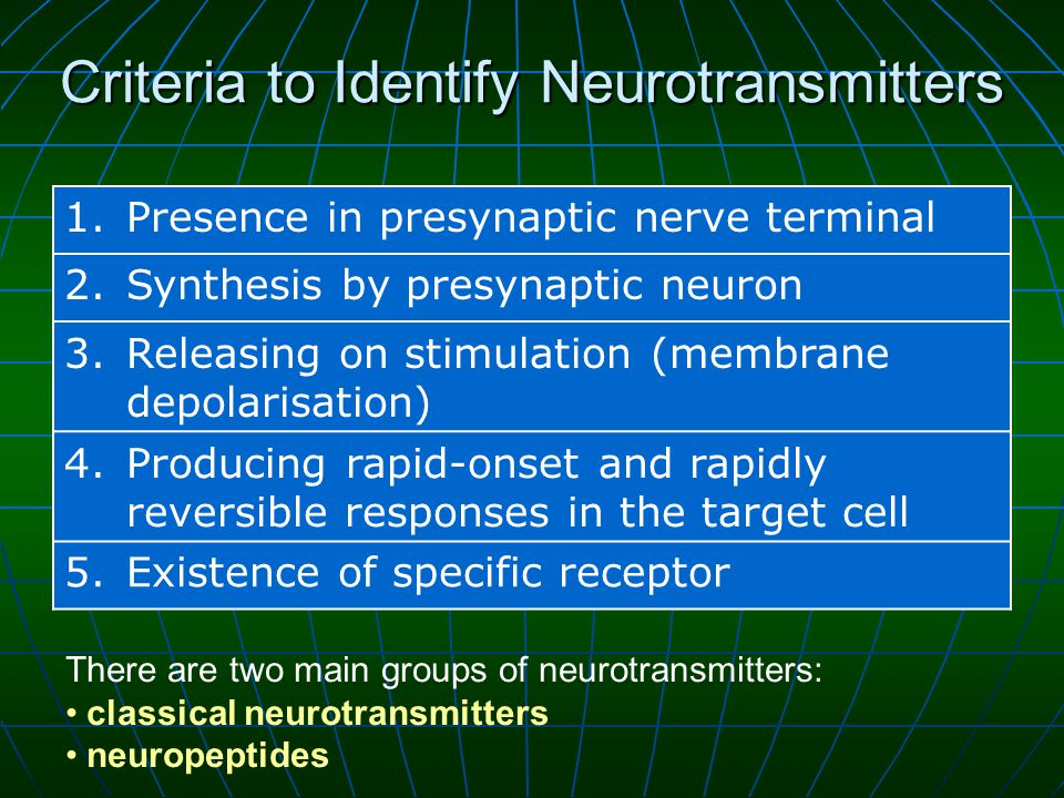 Criteria to Identify Neurotransmitters 1.Presence in presynaptic nerve terminal 2.Synthesis by presynaptic neuron 3.Releasing on stimulation (membrane depolarisation) 4.Producing rapid-onset and rapidly reversible responses in the target cell 5.Existence of specific receptor There are two main groups of neurotransmitters: classical neurotransmitters neuropeptides