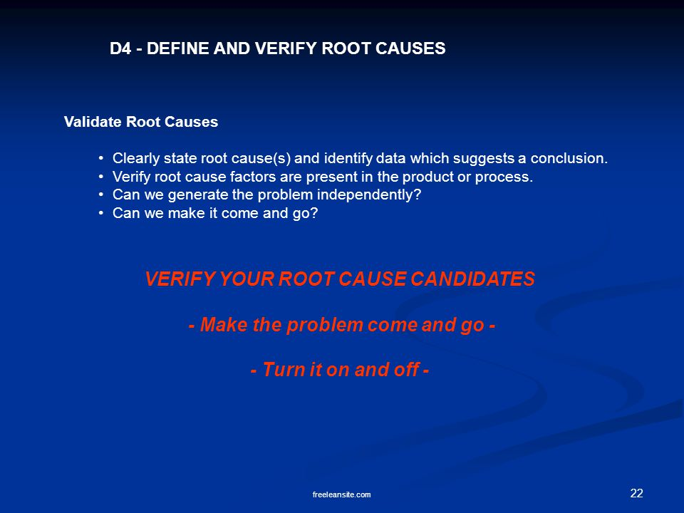 22 freeleansite.com D4 - DEFINE AND VERIFY ROOT CAUSES Validate Root Causes Clearly state root cause(s) and identify data which suggests a conclusion.