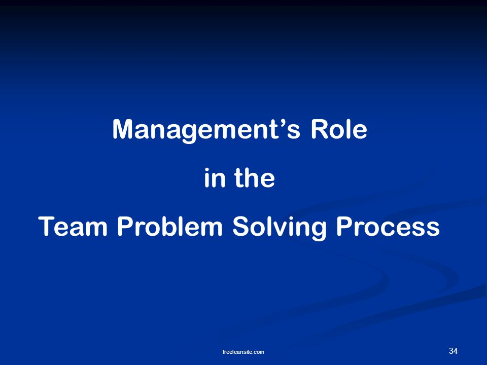 34 freeleansite.com Management's Role in the Team Problem Solving Process