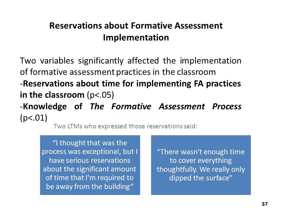 Reservations about Formative Assessment Implementation 37 Two variables significantly affected the implementation of formative assessment practices in the classroom -Reservations about time for implementing FA practices in the classroom (p<.05) -Knowledge of The Formative Assessment Process (p<.01) Two LTMs who expressed those reservations said: I thought that was the process was exceptional, but I have serious reservations about the significant amount of time that I m required to be away from the building There wasn t enough time to cover everything thoughtfully.