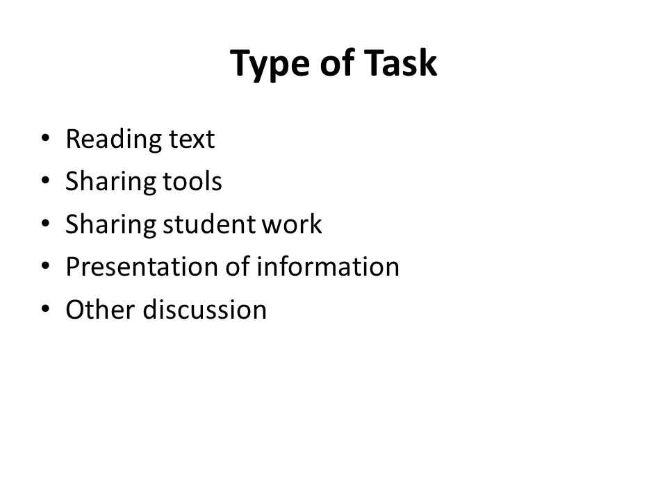Type of Task Reading text Sharing tools Sharing student work Presentation of information Other discussion