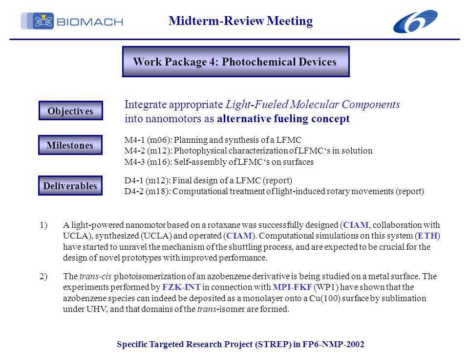 Midterm-Review Meeting Specific Targeted Research Project (STREP) in FP6-NMP-2002 Work Package 4: Photochemical Devices Objectives Integrate appropriate Light-Fueled Molecular Components into nanomotors as alternative fueling concept Milestones Deliverables M4-1 (m06): Planning and synthesis of a LFMC M4-2 (m12): Photophysical characterization of LFMC's in solution M4-3 (m16): Self-assembly of LFMC's on surfaces D4-1 (m12): Final design of a LFMC (report) D4-2 (m18): Computational treatment of light-induced rotary movements (report) 1)A light-powered nanomotor based on a rotaxane was successfully designed (CIAM, collaboration with UCLA), synthesized (UCLA) and operated (CIAM).