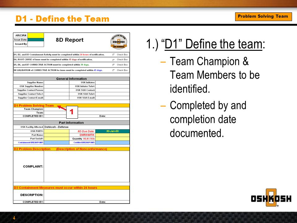 """4 1.) """"D1"""" Define the team: –Team Champion & Team Members to be identified. –Completed by and completion date documented. D1 - Define the Team 1 Probl"""