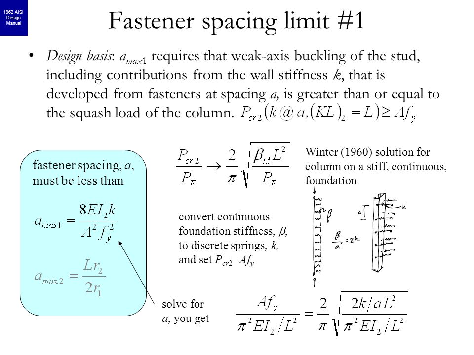 Fastener spacing limit #1 fastener spacing, a, must be less than Design basis: a max1 requires that weak-axis buckling of the stud, including contribu