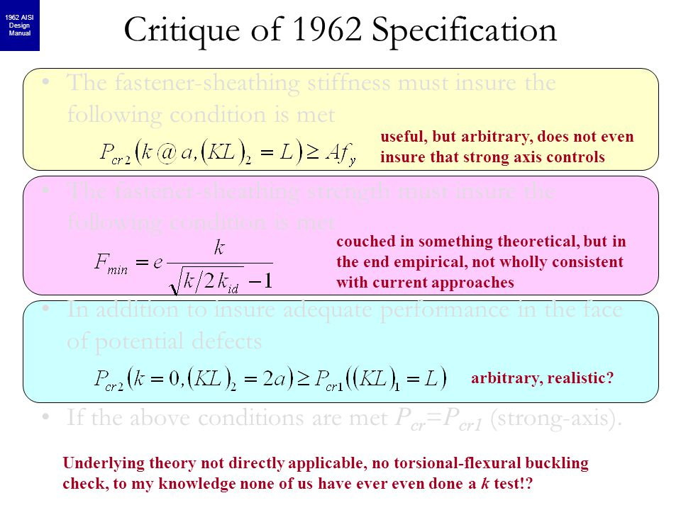 Critique of 1962 Specification The fastener-sheathing stiffness must insure the following condition is met The fastener-sheathing strength must insure the following condition is met In addition to insure adequate performance in the face of potential defects If the above conditions are met P cr = P cr1 (strong-axis).
