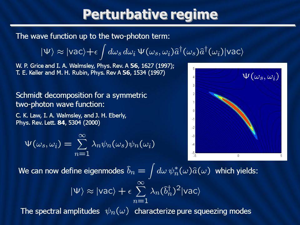 Perturbative regime Schmidt decomposition for a symmetric two-photon wave function: C.