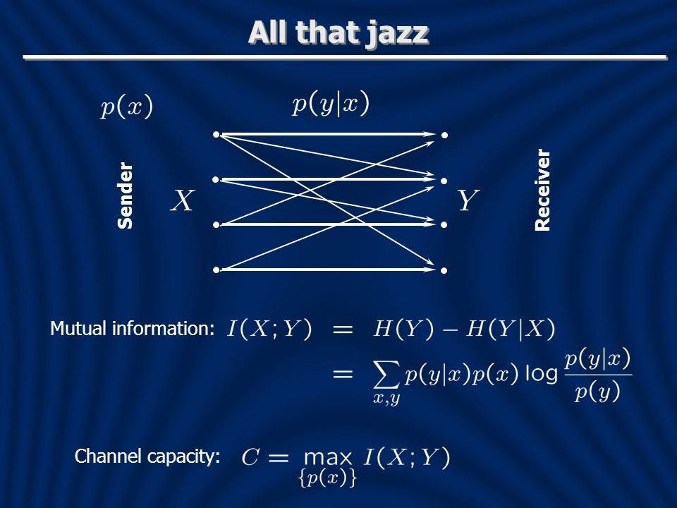 All that jazz Sender Receiver Mutual information: Channel capacity: